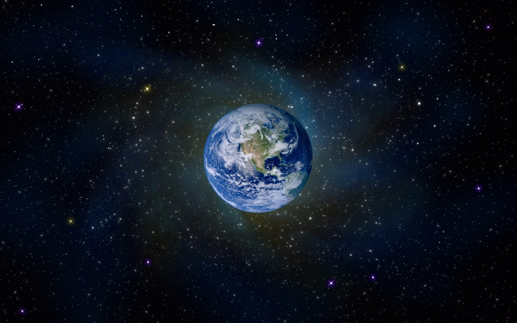 Earth in violet energy